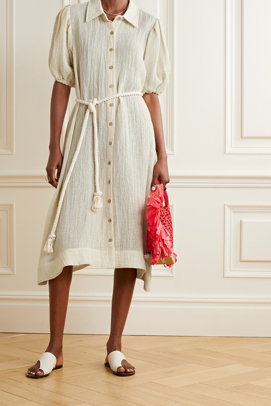 Lisa Marie Fernandez Pouf linen-blend gauze shirt dress