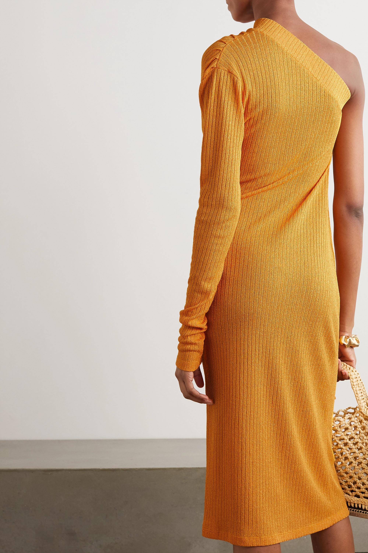 Dodo Bar Or Hannah one-sleeve draped ribbed-knit midi dress