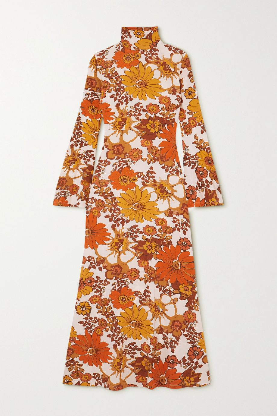 Dodo Bar Or Lena floral-print stretch-jersey turtleneck midi dress
