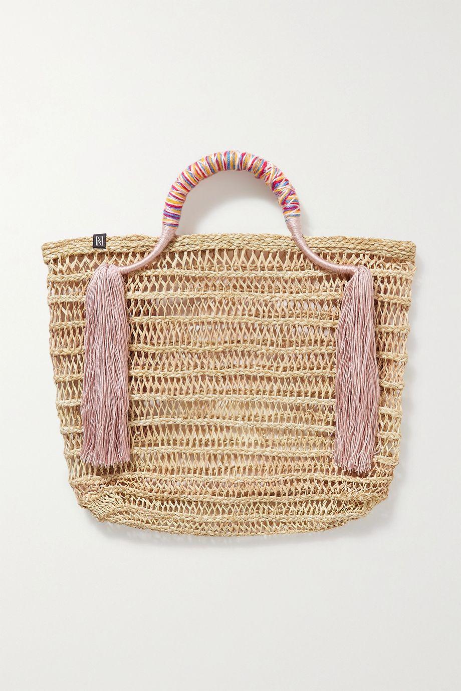 Nannacay Zana tasseled woven straw tote