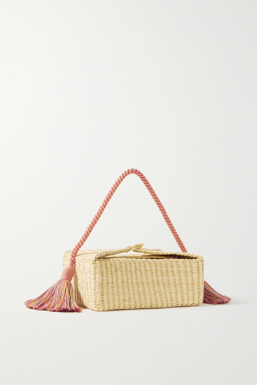 Nannacay Beatrice tasseled woven straw tote