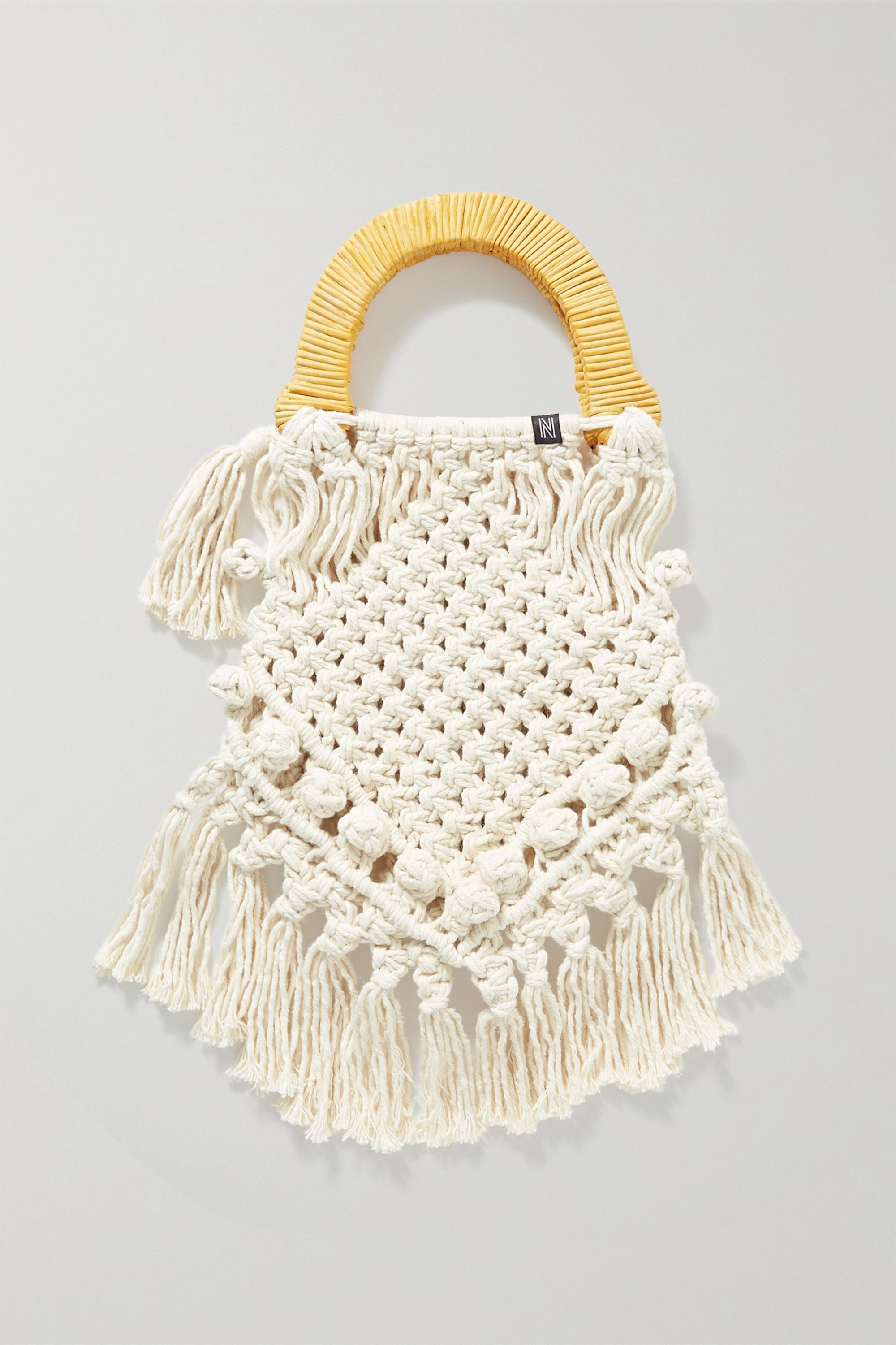 Nannacay Lotus fringed macramé and wicker tote