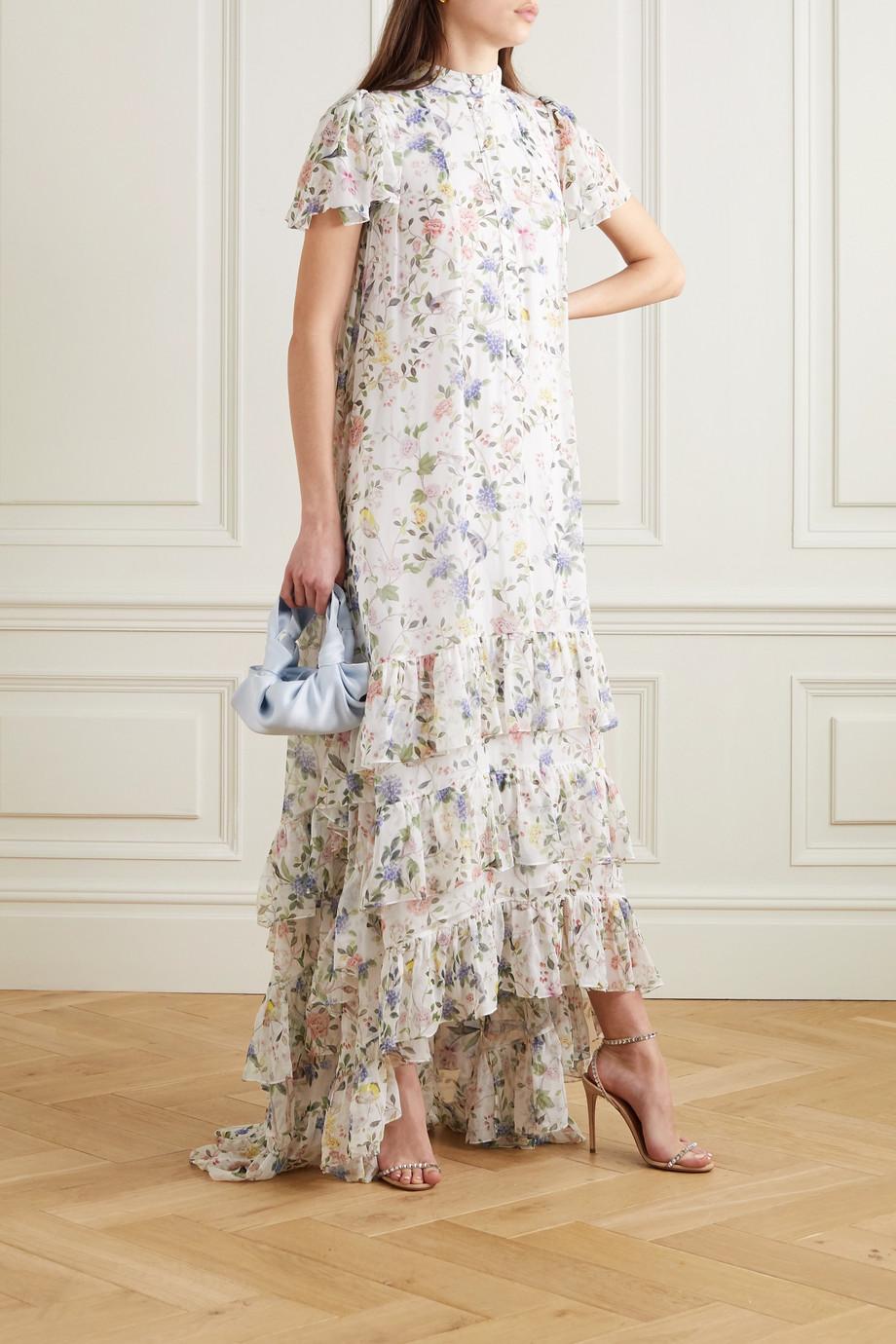 Erdem Aurelio tiered ruffled floral-print silk-voile gown