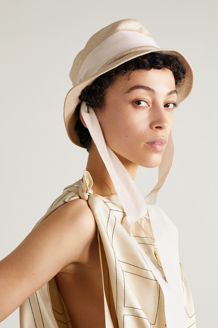 Gigi Burris + Space for Giants Trail grosgrain-trimmed metallic linen sunhat