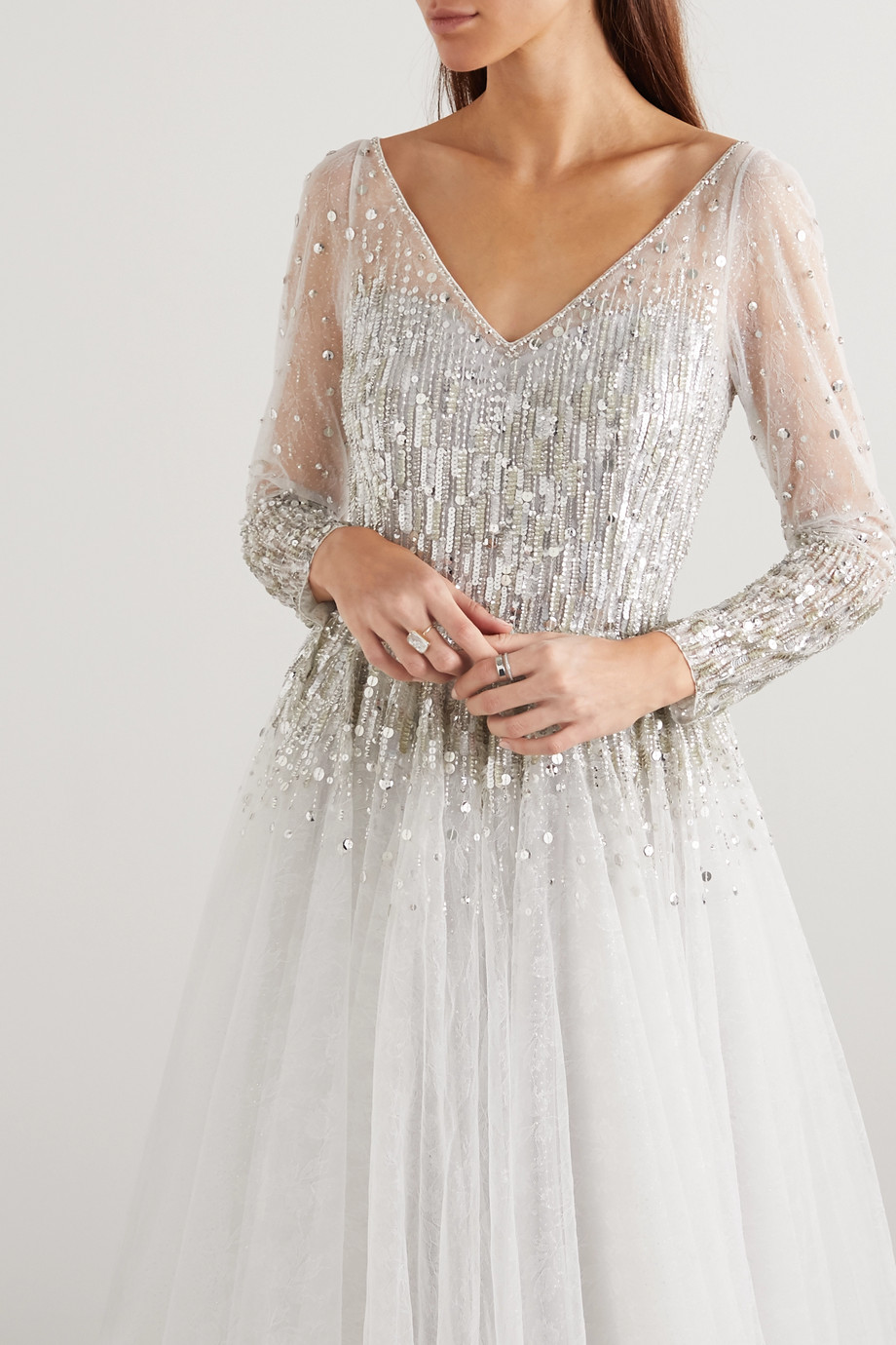 Jenny Packham Leigh embellished glittered tulle gown