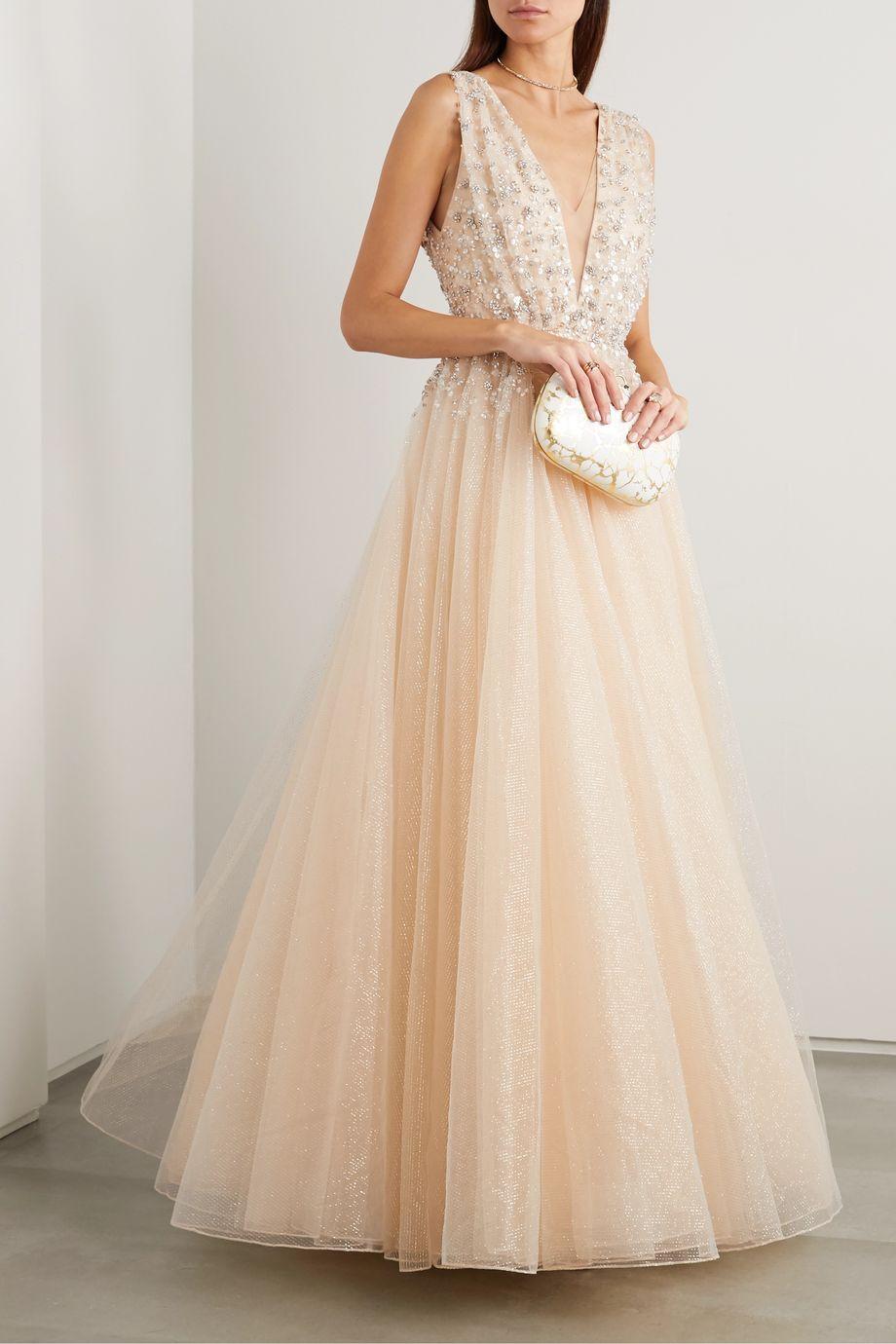 Jenny Packham Jeanne embellished glittered tulle gown