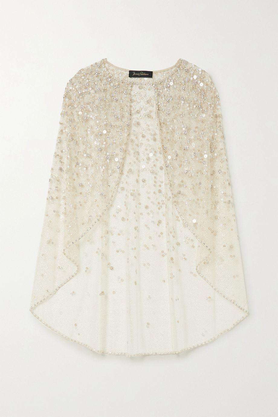 Jenny Packham Florentine embellished glittered tulle cape