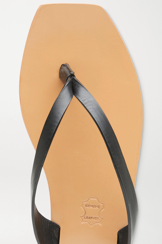 Black + Net Sustain Basik Leather Flip Flops | St. Agni