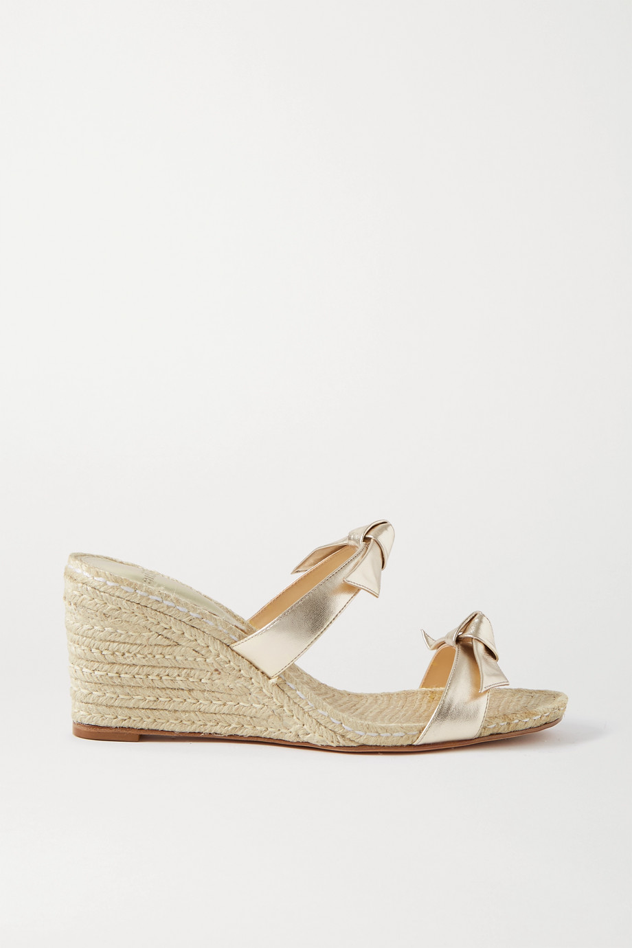 Alexandre Birman Clarita bow-embellished metallic leather espadrilles