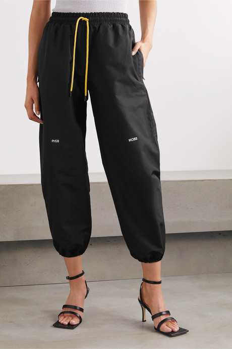 Cropped embroidered shell track pants