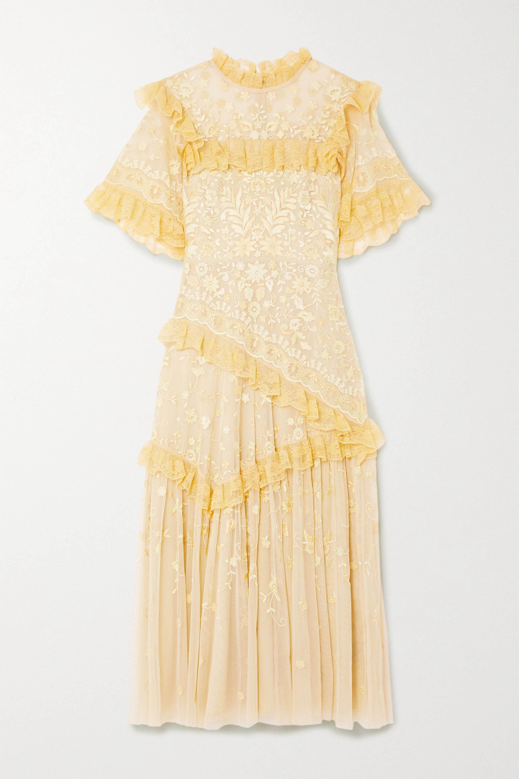 Needle & Thread + Jasmine Hemsley Earth Garden lace-trimmed embroidered tulle midi dress