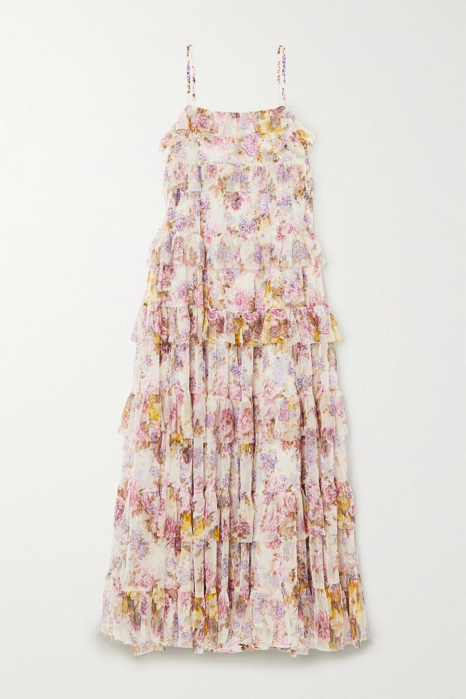 Needle & Thread + Jasmine Hemsley Harmony ruffled floral-print tulle midi dress