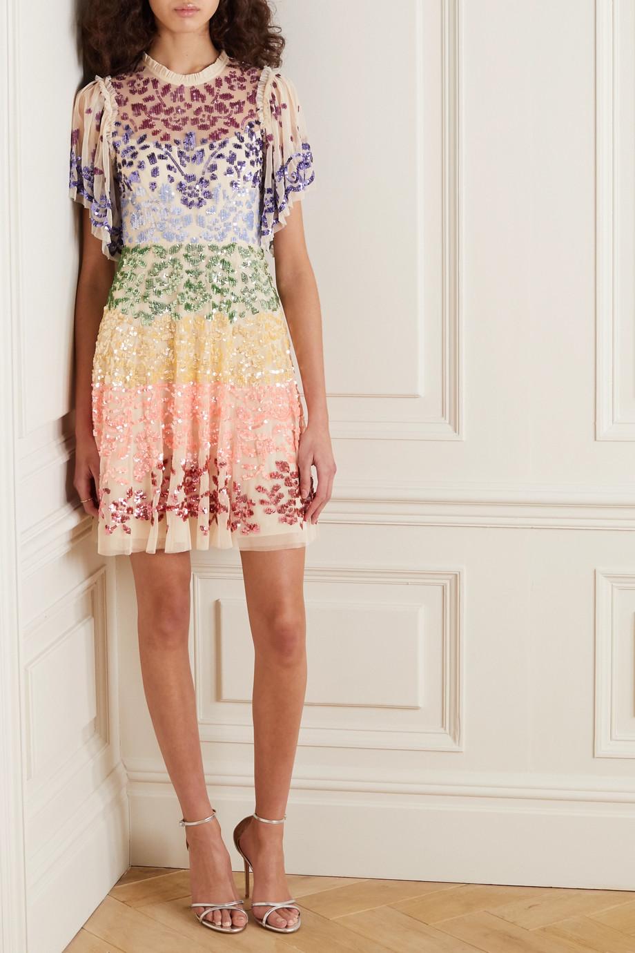 Needle & Thread + Jasmine Hemsley Chakra sequin-embellished tulle mini dress