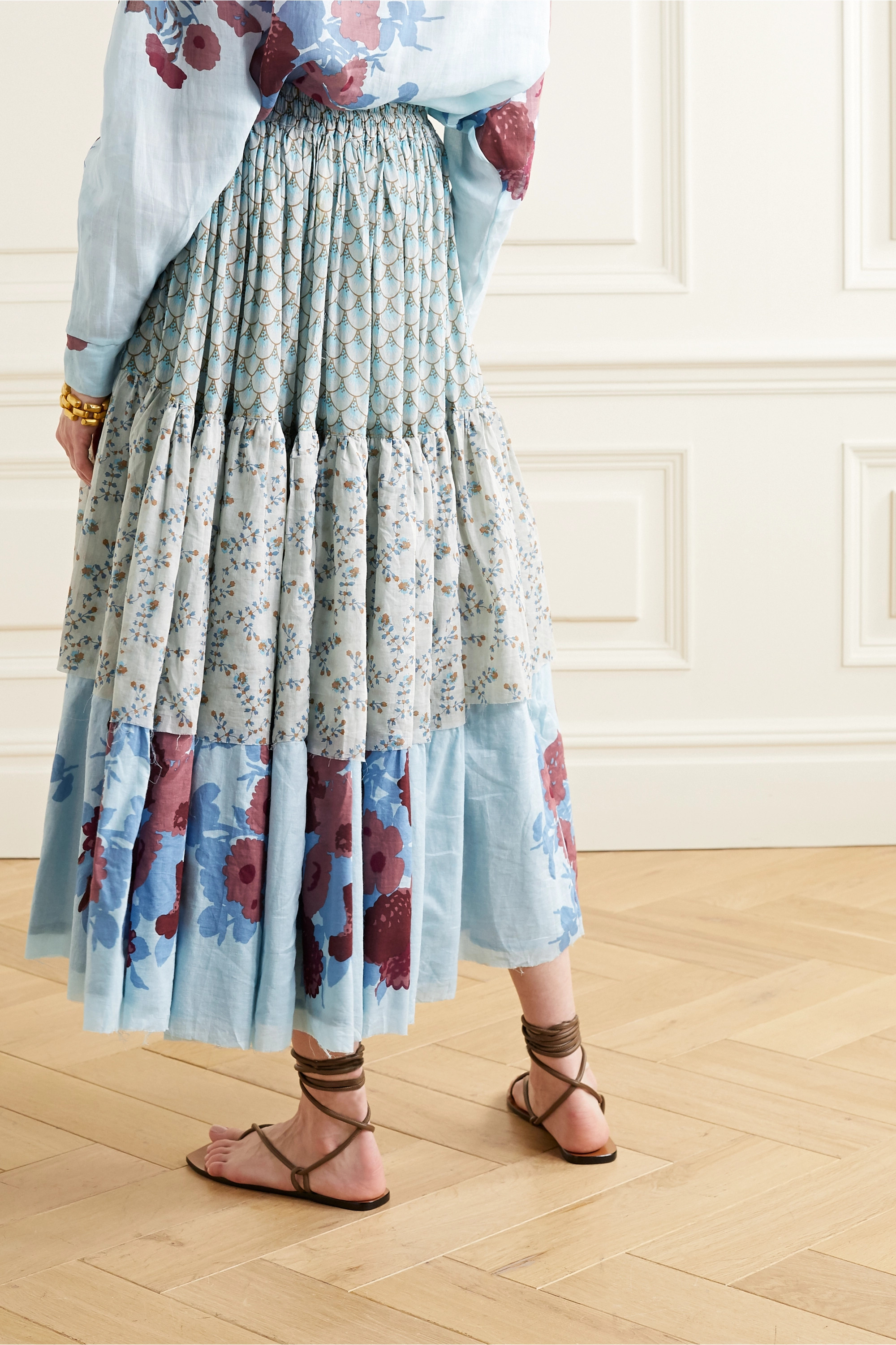 Yvonne S Tiered floral-print cotton-voile midi skirt