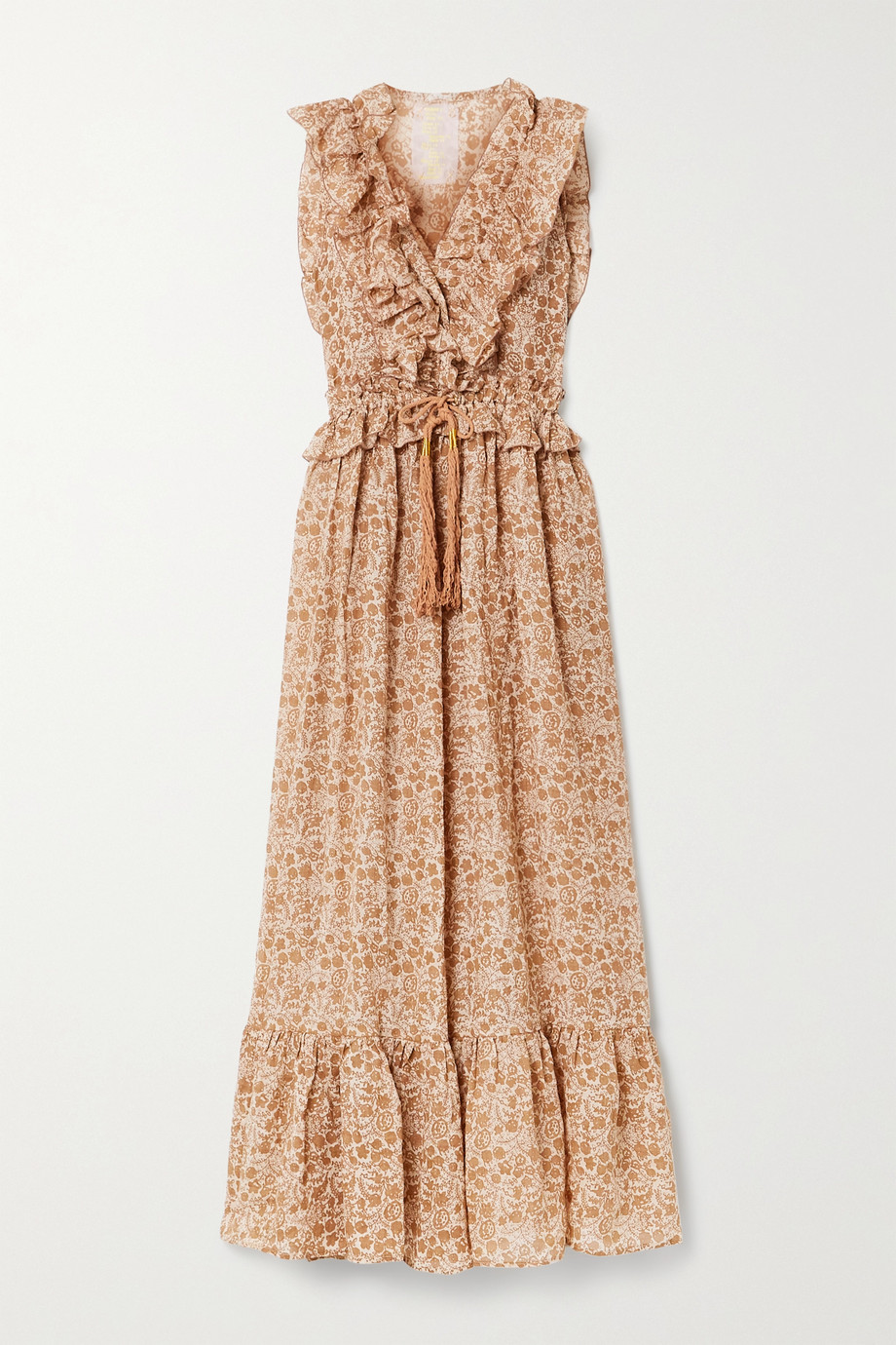 Yvonne S Marie Antoinette ruffled floral-print linen maxi dress