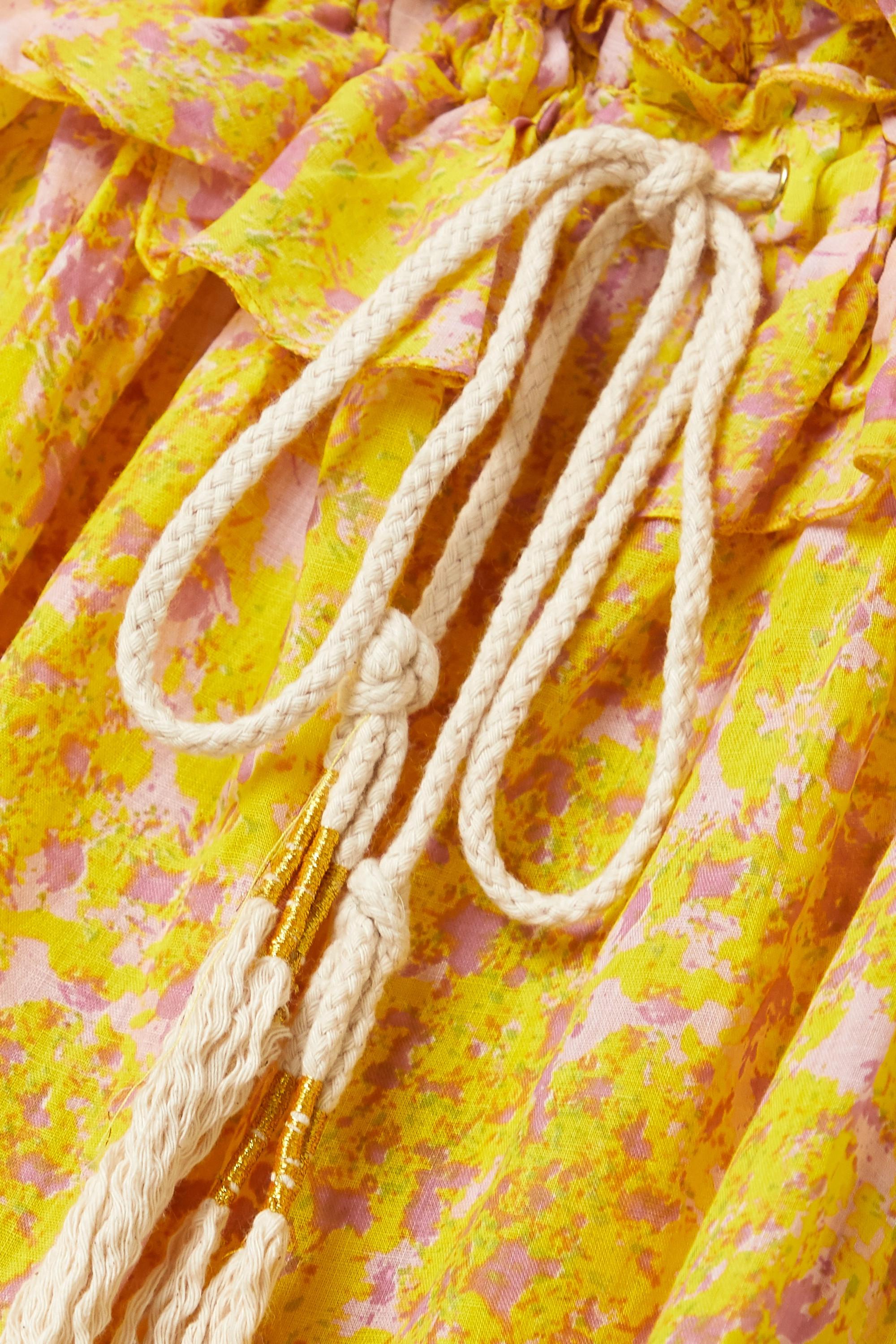 Yellow Marie Antoinette Ruffled Floral-print Linen Maxi Dress | Yvonne S