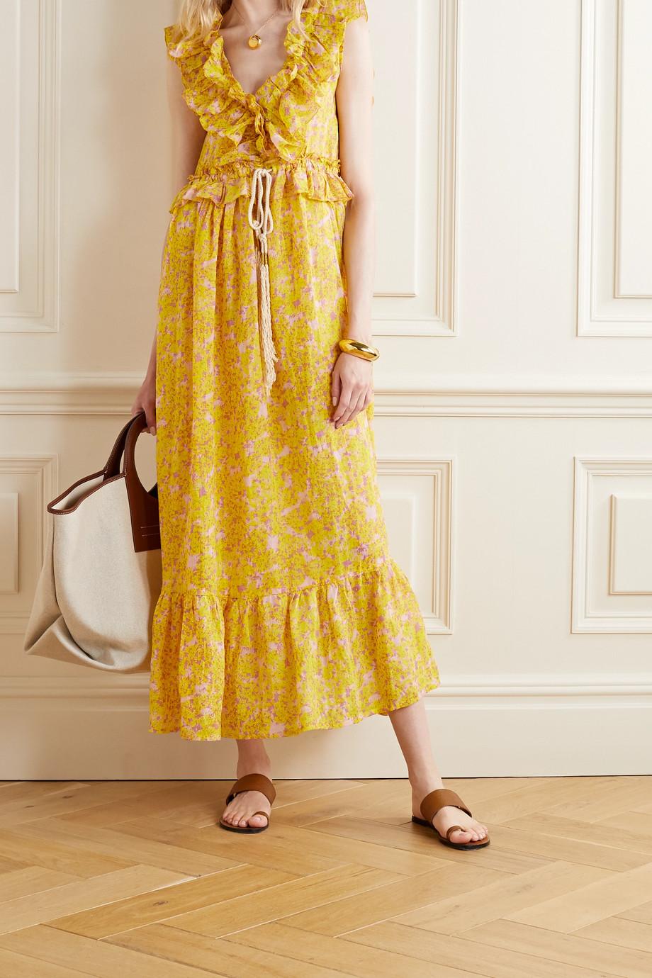 Yvonne S Marie Antoinette 荷叶边花卉印花亚麻超长连衣裙