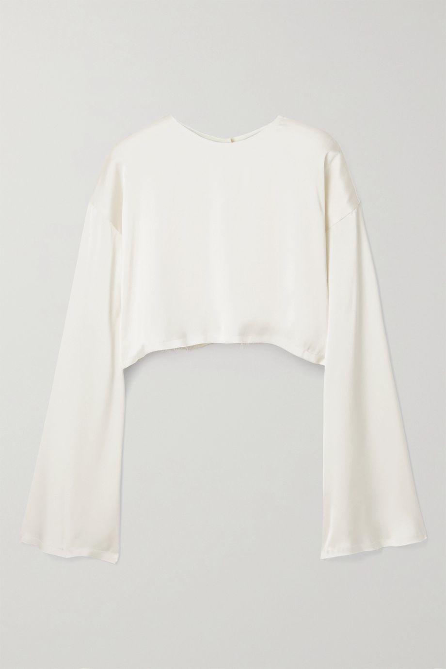 Orseund Iris Reversible cropped frayed satin blouse
