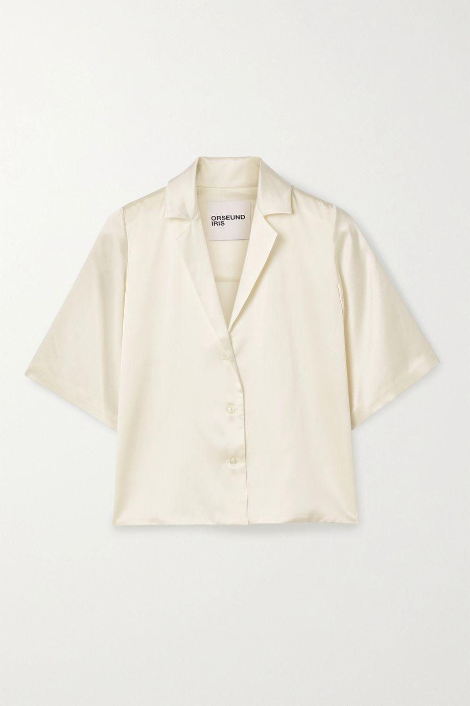 Orseund Iris Le Funk cropped silk-satin shirt