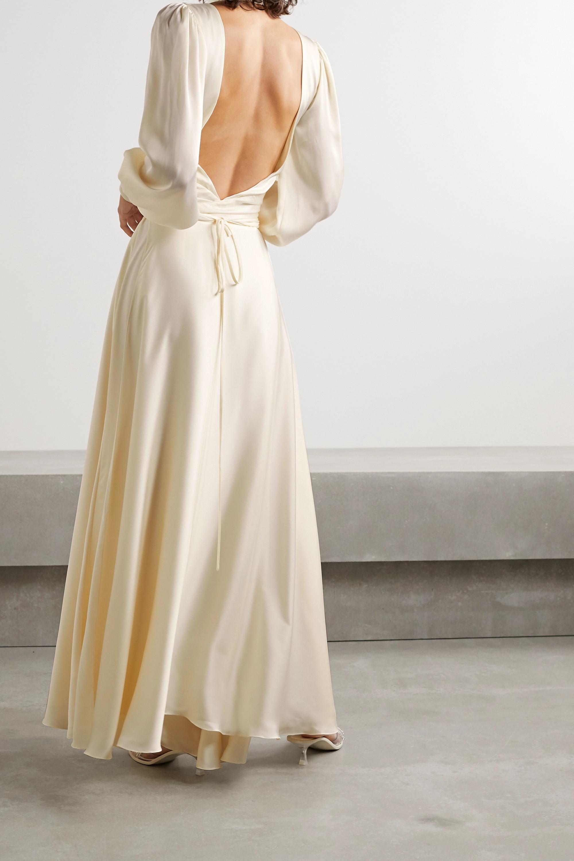 Orseund Iris Night Out cutout ruched satin wrap maxi dress