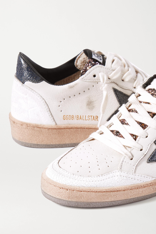 Golden Goose Baskets en cuir effet vieilli à paillettes Ball Star
