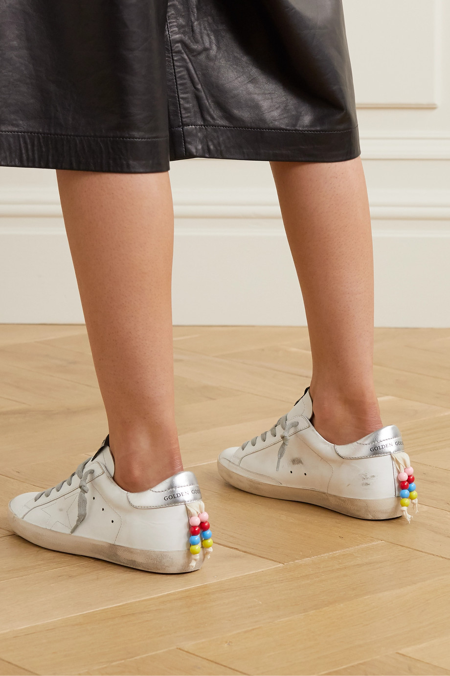 Golden Goose Superstar bead-embellished distressed leather sneakers