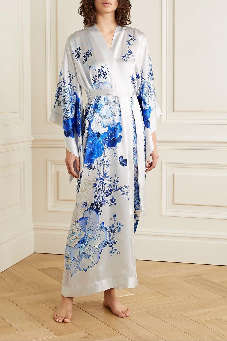 MENG Floral-print silk-satin robe