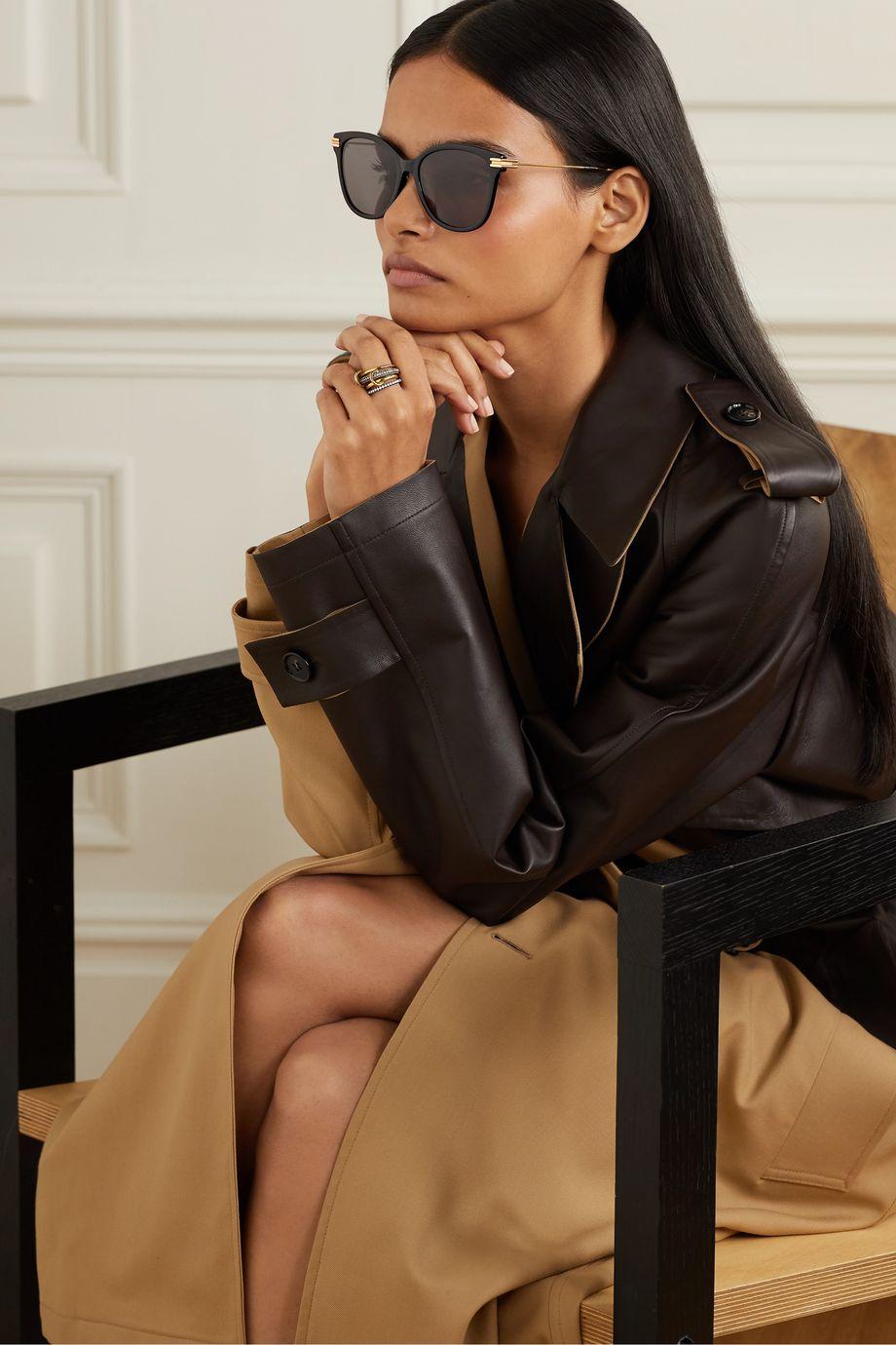 Bottega Veneta Round-frame acetate and gold-tone sunglasses
