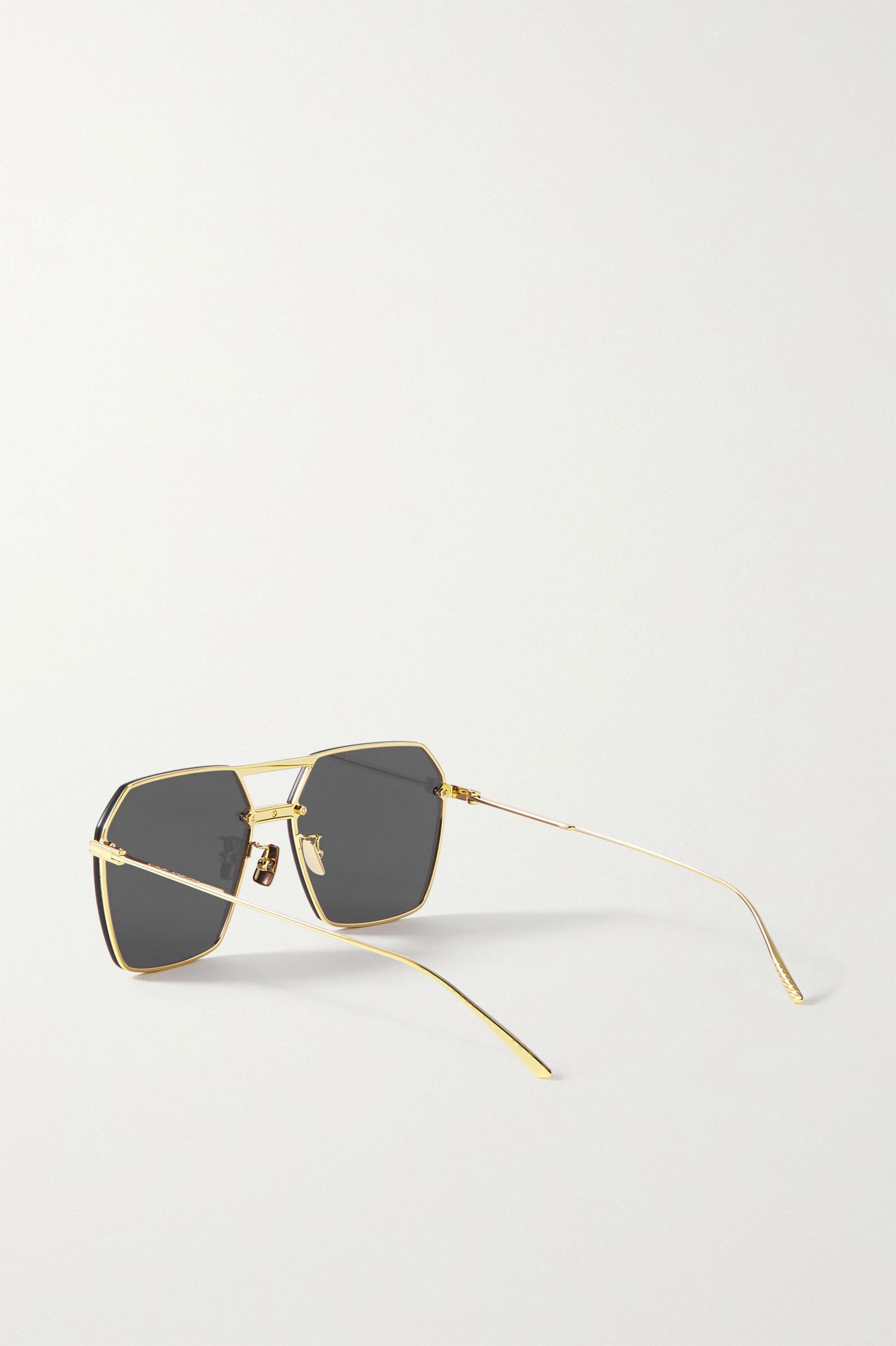 Bottega Veneta Hexagon-frame gold-tone sunglasses
