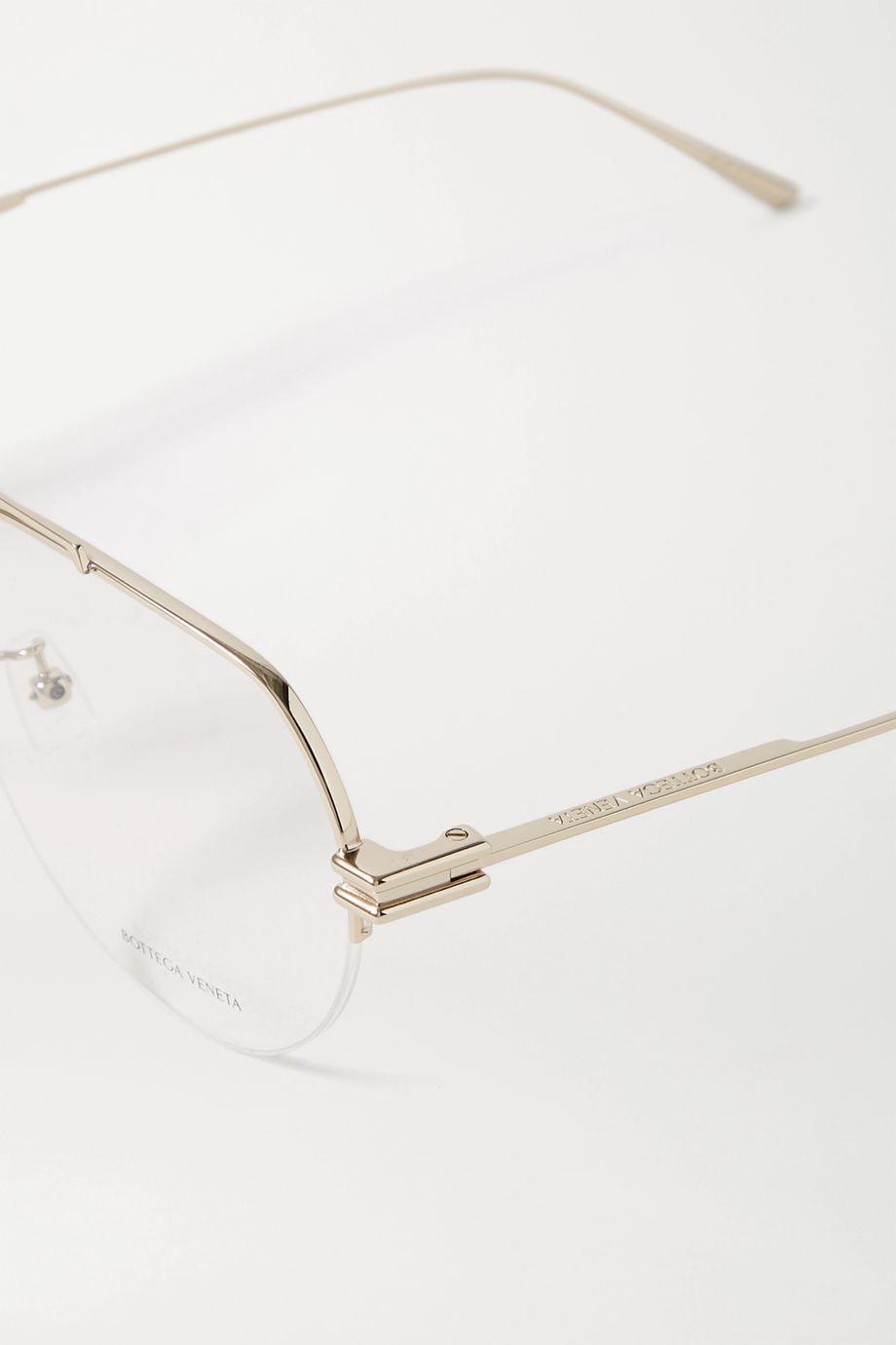 Bottega Veneta 金色金属飞行员光学眼镜
