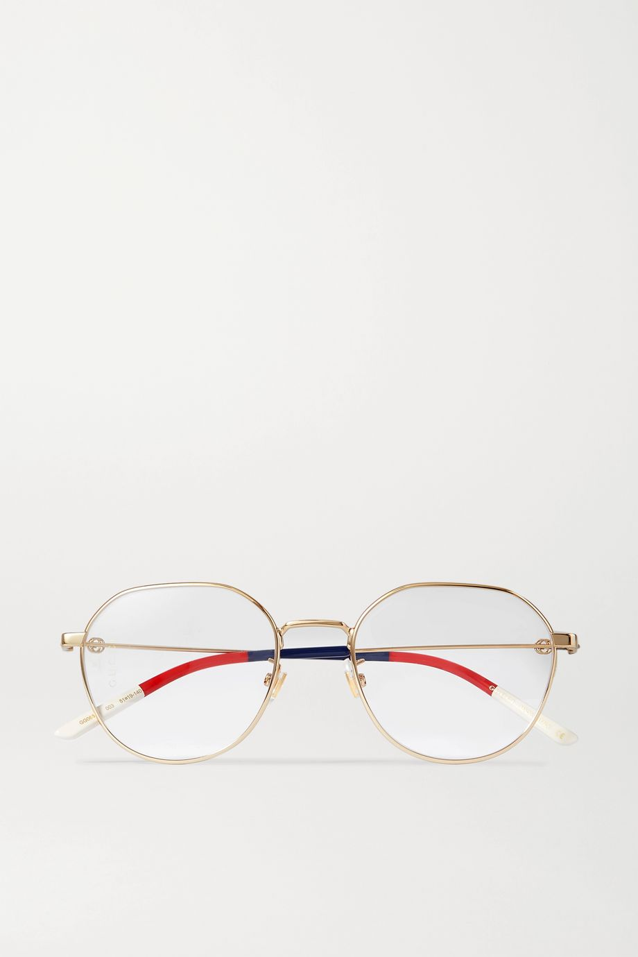 Gucci Round-frame gold-tone and striped acetate optical glasses