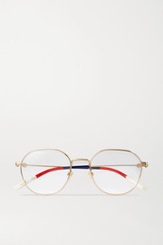 Round-frame gold-tone and striped acetate optical glasses
