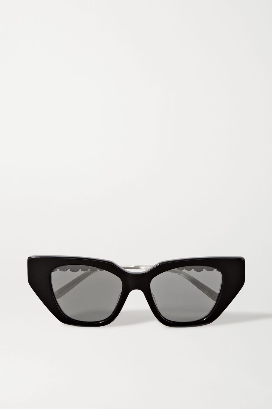 Gucci Cat-eye crystal-embellished acetate and silver-tone sunglasses