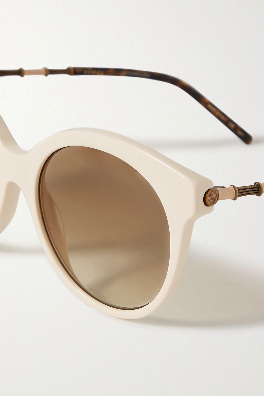 Gucci Round-frame acetate and gold-tone sunglasses