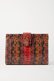 Ximena Kavalekas Megan snake-effect leather clutch