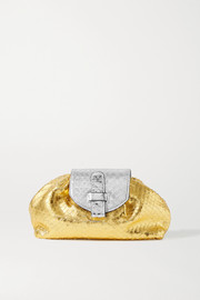 Ximena Kavalekas Serena small metallic snake-effect leather clutch