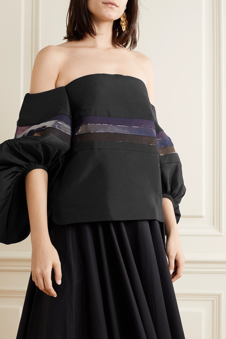 Off-the-shoulder striped silk-faille top