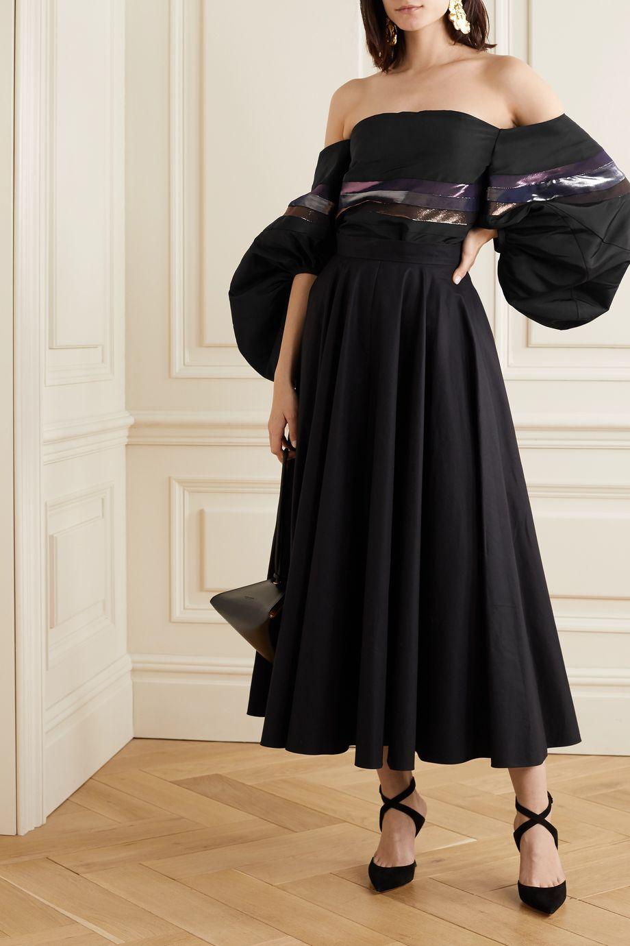 Rosie Assoulin Off-the-shoulder striped silk-faille top