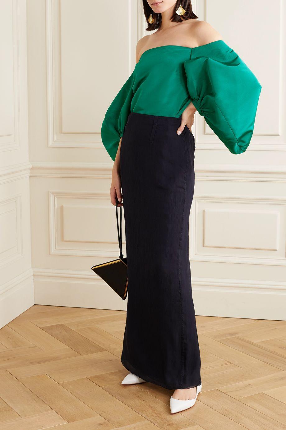 Rosie Assoulin Off-the-shoulder silk-faille top