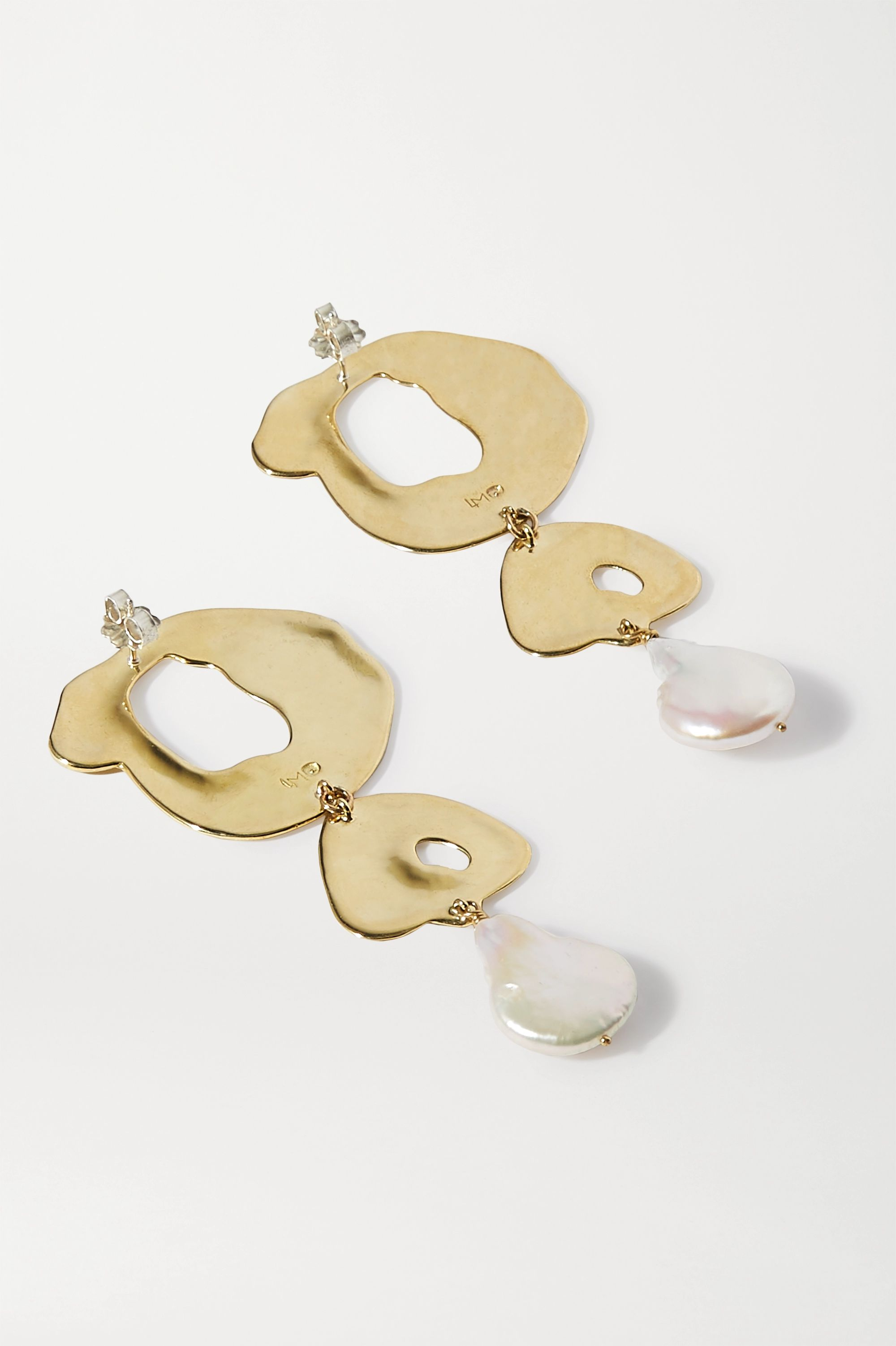 Leigh Miller + Space for Giants gold-tone pearl earrings