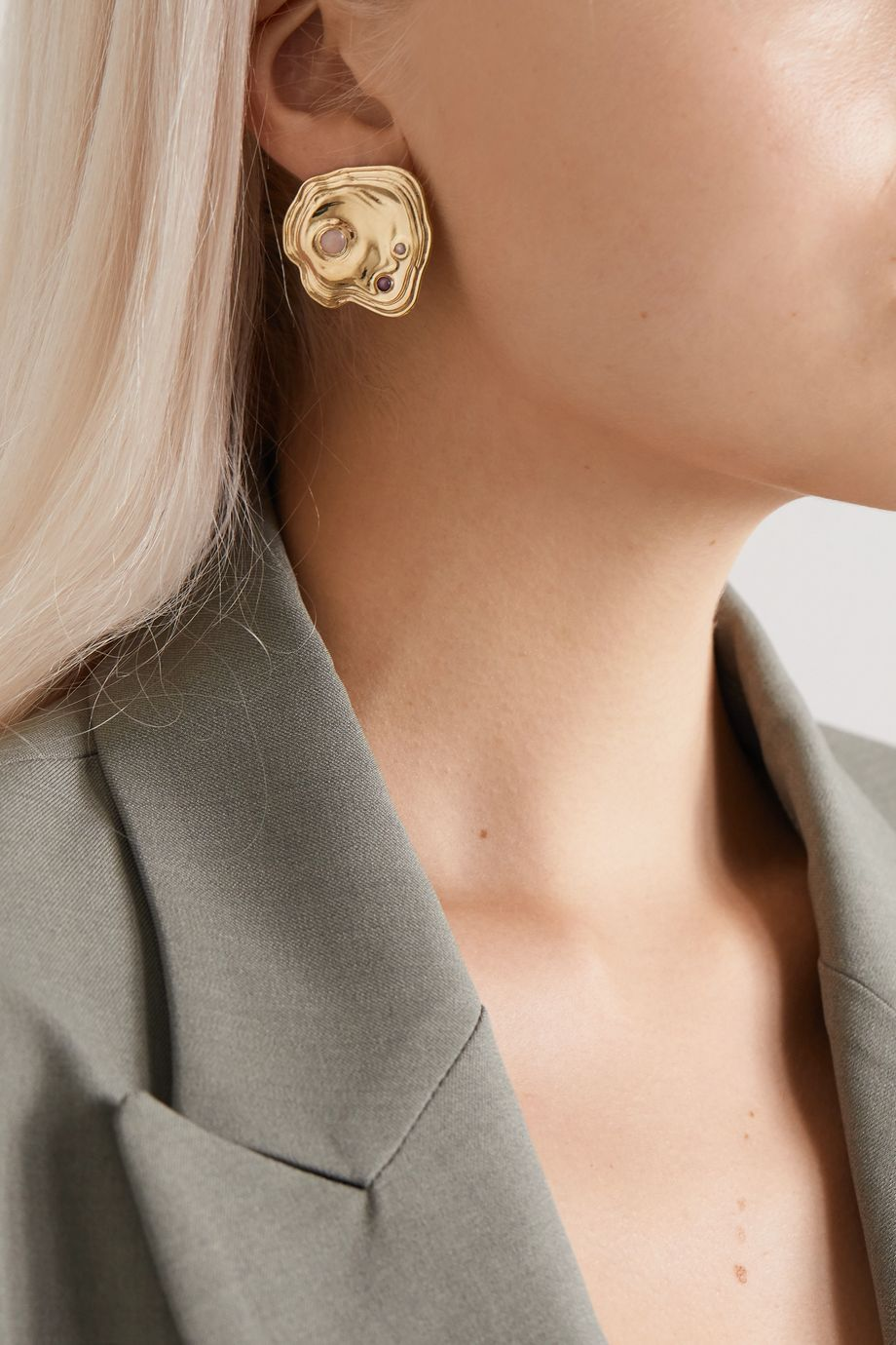 Leigh Miller + NET SUSTAIN Lava gold-tone multi-stone earrings