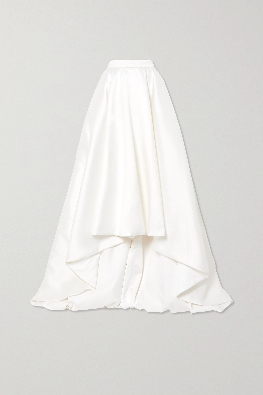 Halfpenny London Robin asymmetric pleated duchesse-satin maxi skirt