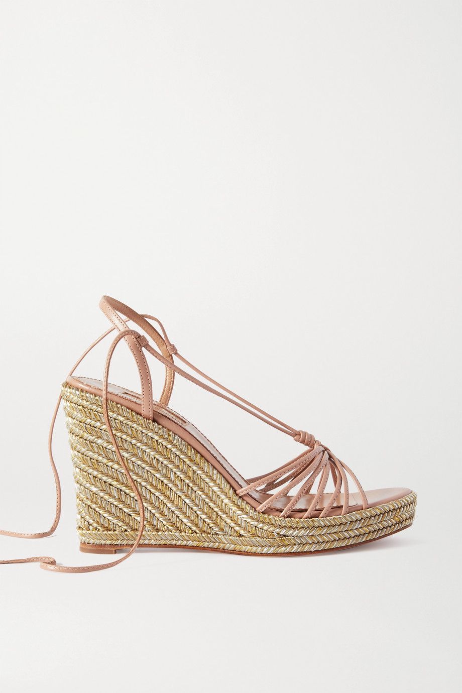 Aquazzura Whisper 85 leather espadrille wedge sandals