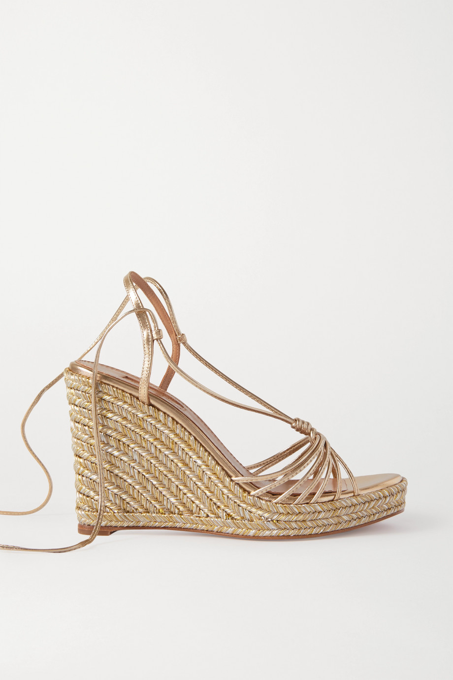 Aquazzura Whisper 85 metallic leather espadrille wedge sandals