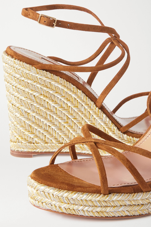 Aquazzura Gin 85 suede espadrille wedge sandals