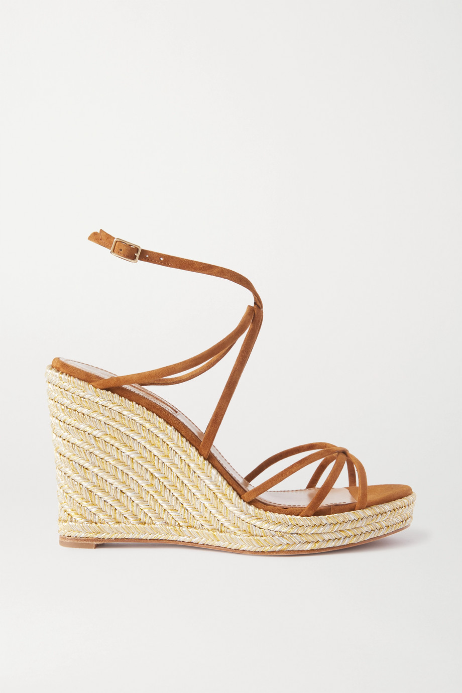 Aquazzura Gin 85 suede espadrille wedge sandals