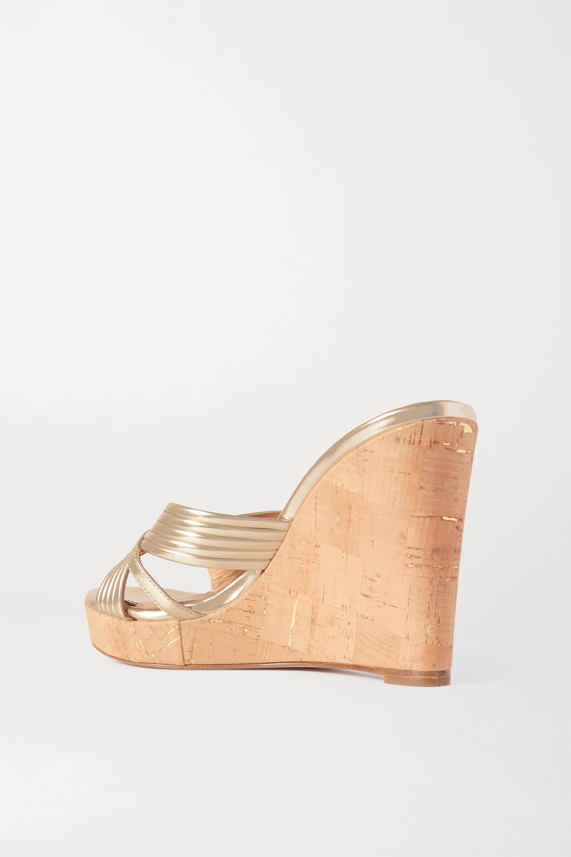 Aquazzura Sundance 85 metallic leather wedge sandals