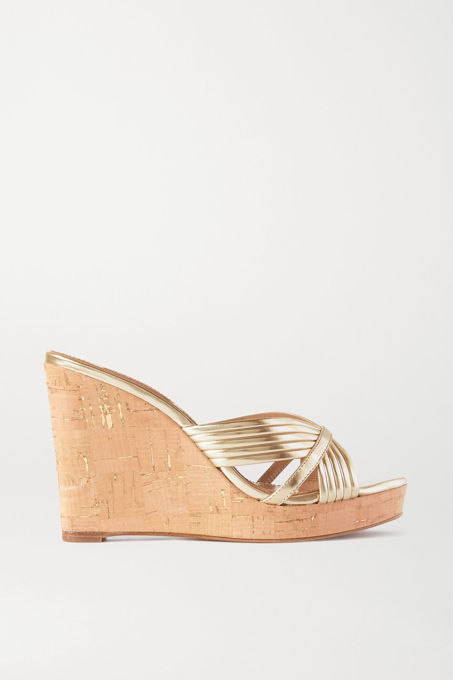 Aquazzura Sundance 85 metallic leather wedge sandals