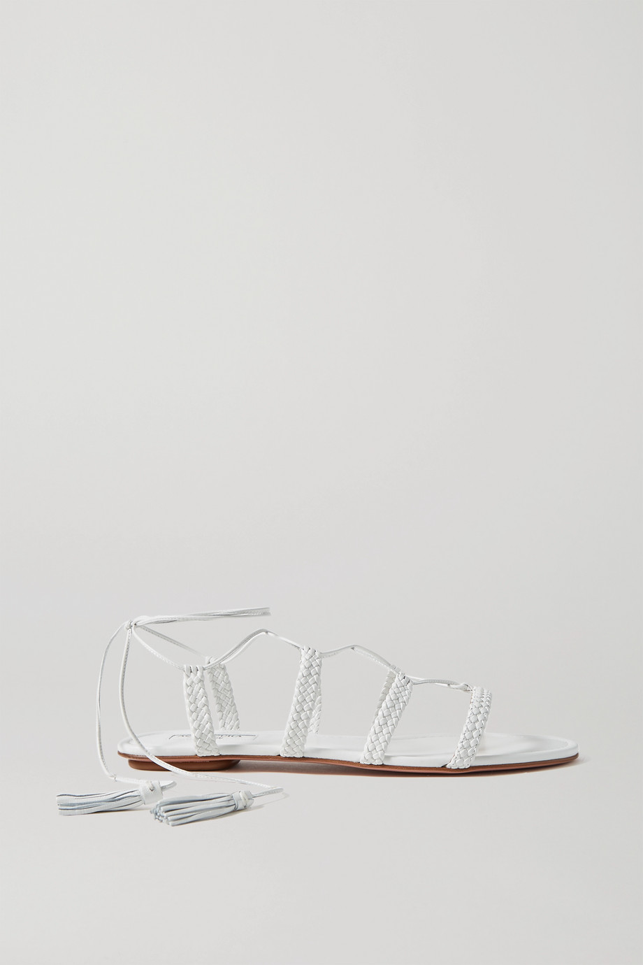 Aquazzura Stromboli 麻花编织皮革凉鞋