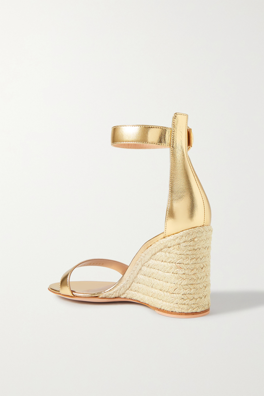 Gianvito Rossi Portofino 85 metallic leather espadrille wedge sandals